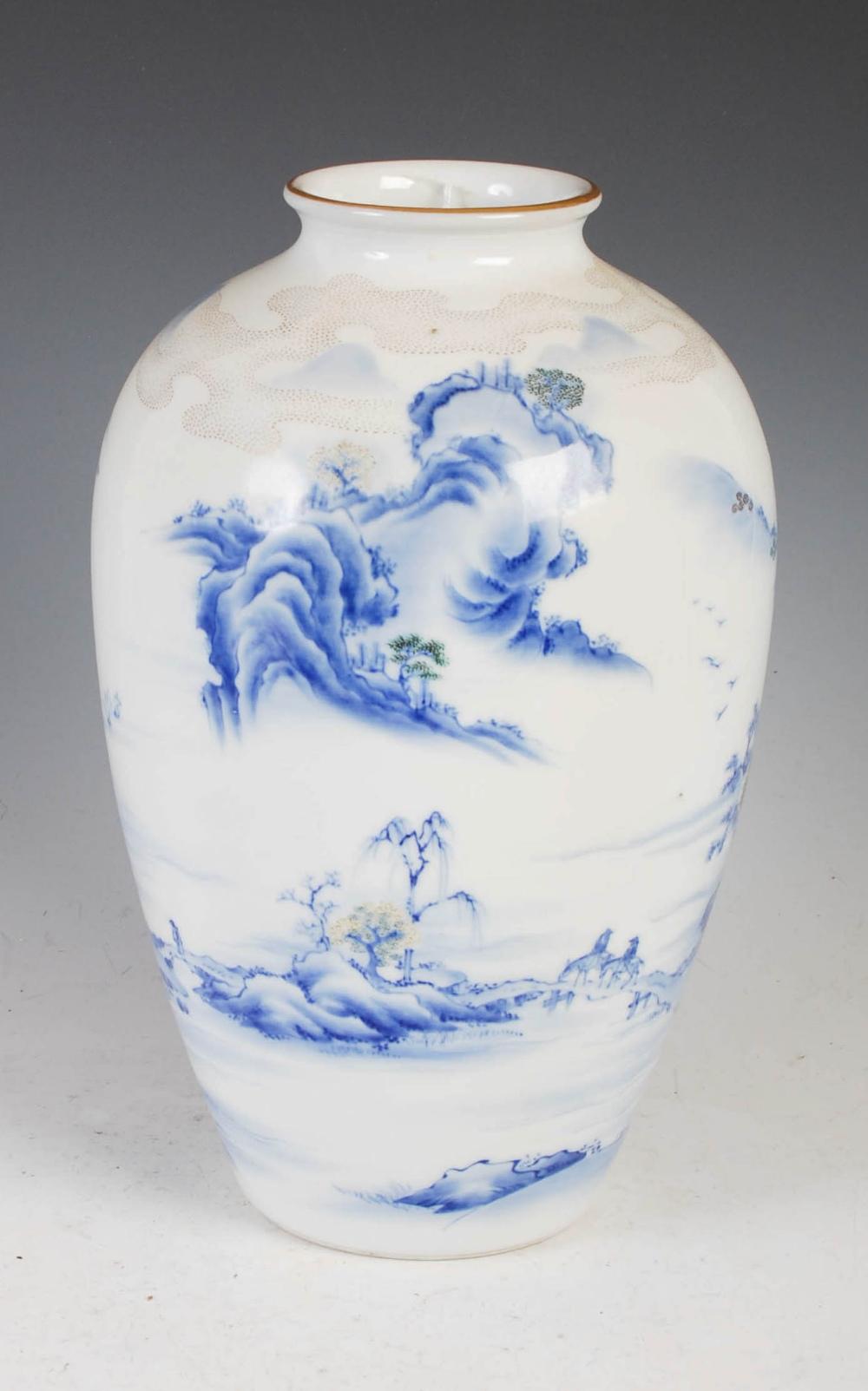 A Japanese Fukagawa porcelain vase, late Meiji/ Taisho Period, decorated with pavilion on a - Image 2 of 4
