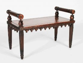 An early 19th century mahogany hall bench attributed to George Bullock, the rectangular top set with