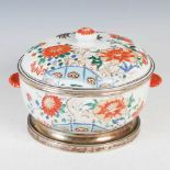 A Chinese porcelain famille verte white metal mounted tureen and cover, Qing Dynasty, decorated with