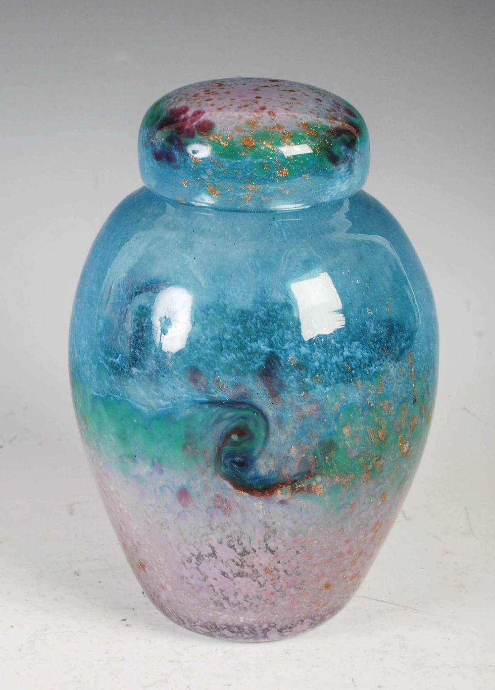 A rare Monart jar and cover, shape VJ, mottled blue, green and pink to purple glass with gold