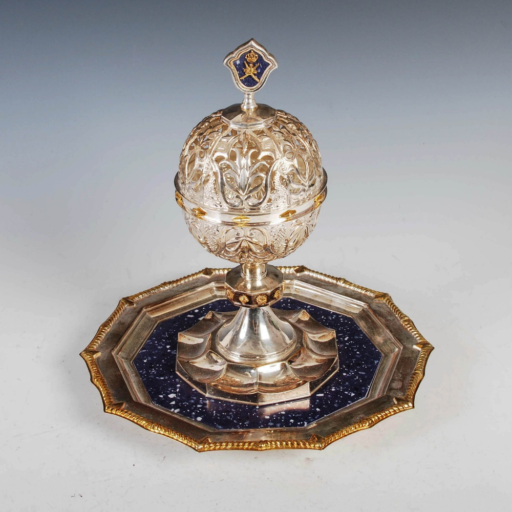 An Official Oman silver and lapis lazuli Presentation covered chalice, the chalice with hinged