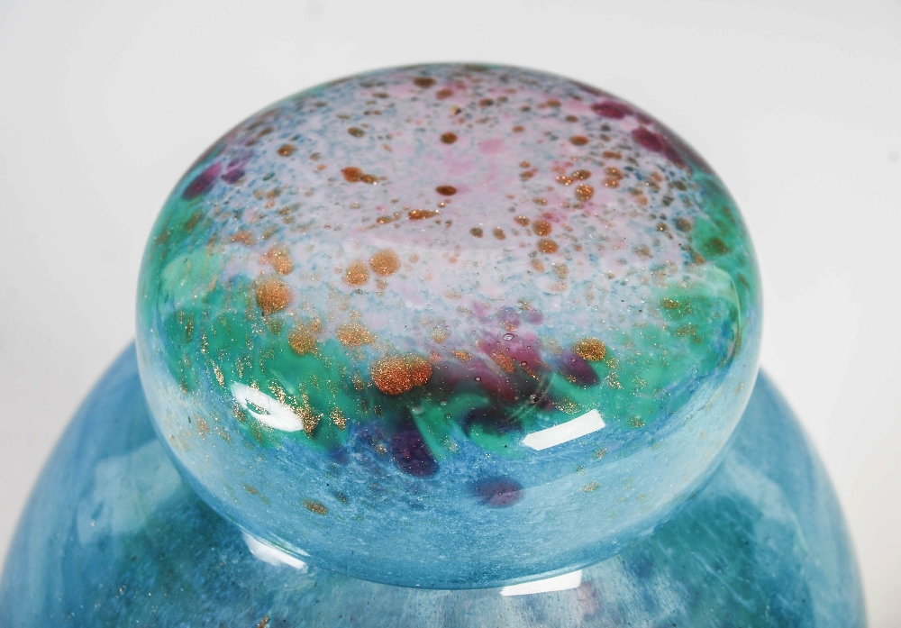 A rare Monart jar and cover, shape VJ, mottled blue, green and pink to purple glass with gold - Image 3 of 6