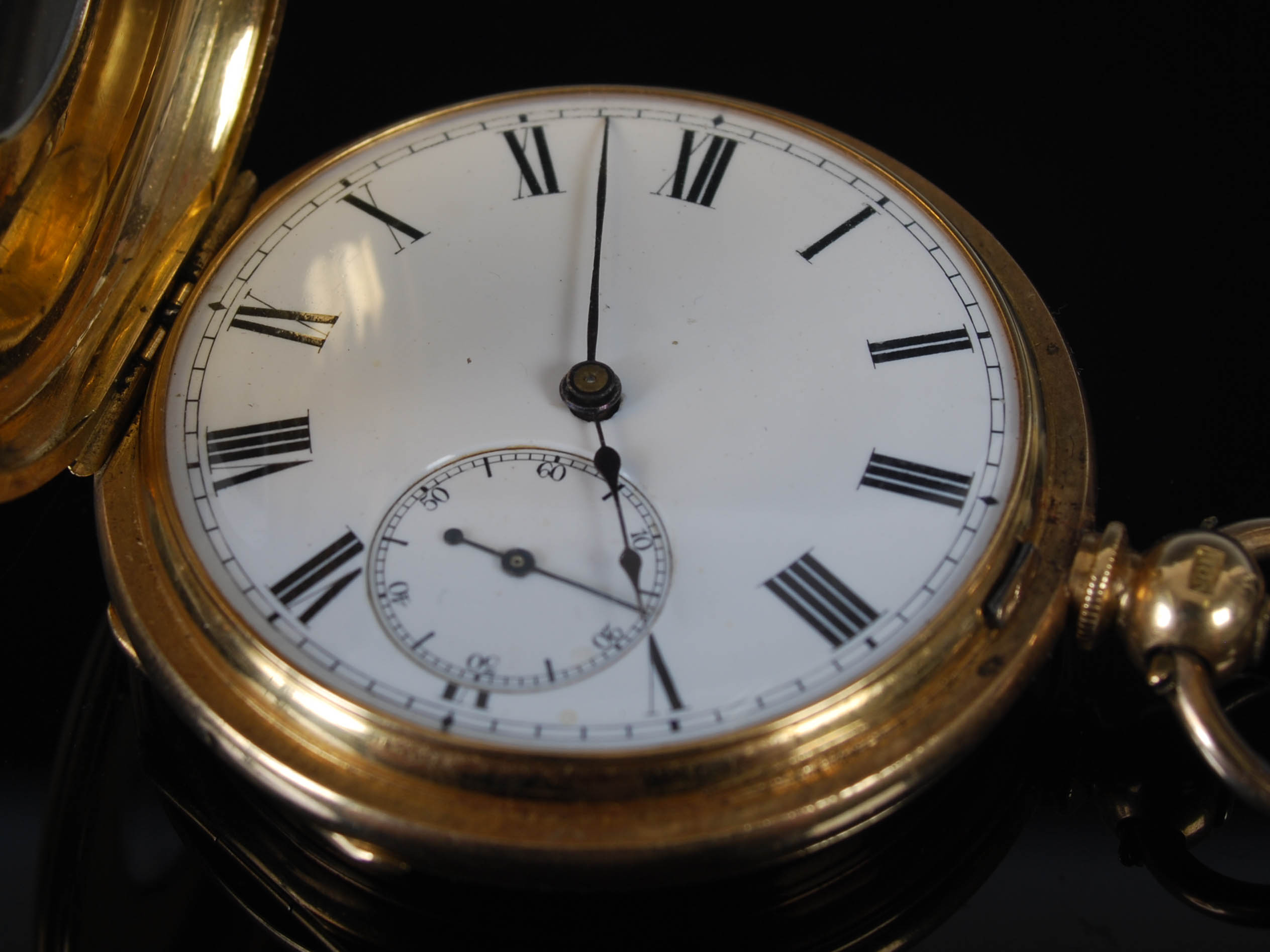 A yellow metal half hunter pocket watch, the outer cover with black enamel Roman numeral detail, the - Image 4 of 7