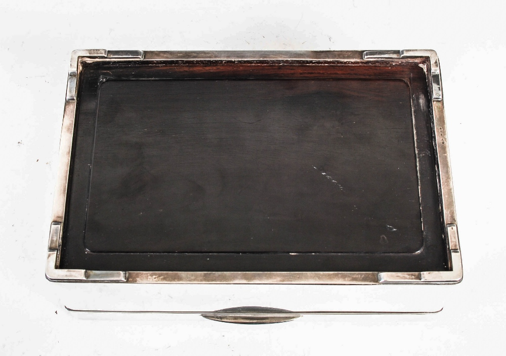 A Japanese silver rectangular shaped box, late 19th/ early 20th century, the hinged cover with - Image 5 of 7