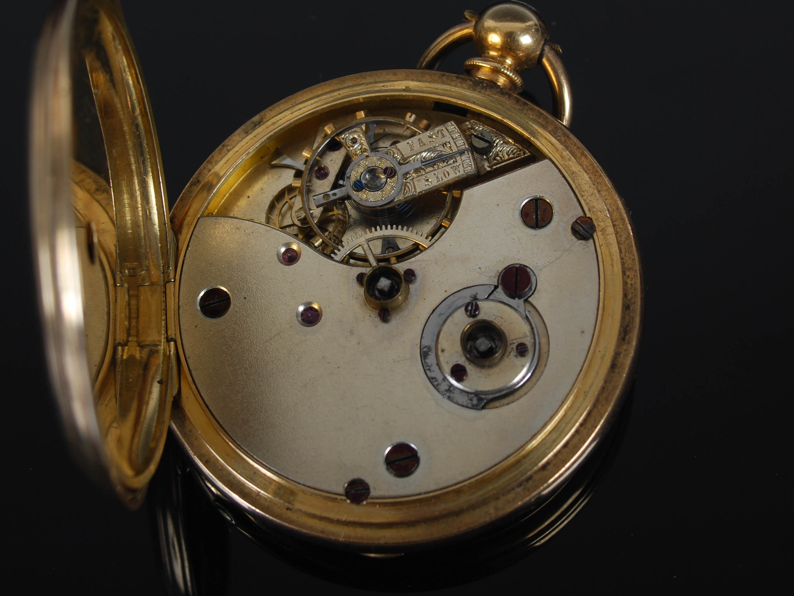 A yellow metal half hunter pocket watch, the outer cover with black enamel Roman numeral detail, the - Image 5 of 7