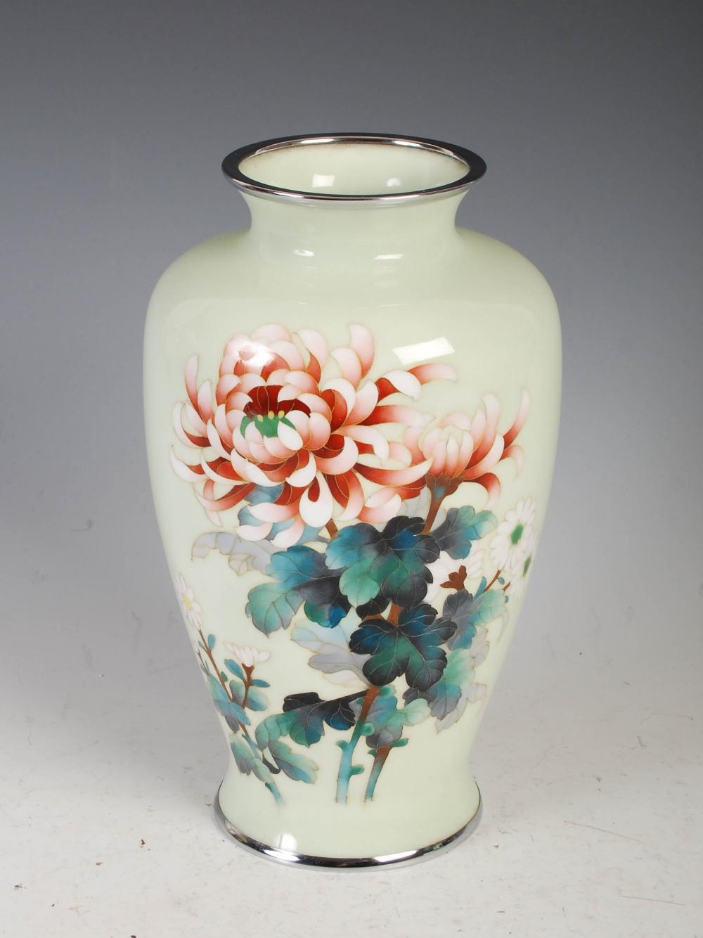 A Japanese apple green ground silver wire work cloisonne vase, Ando Jubei, late Meiji/ Taisho