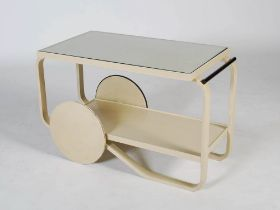 Alvar Aalto, a later painted 901 tea trolley, with original ivorine label, the details rubbed,