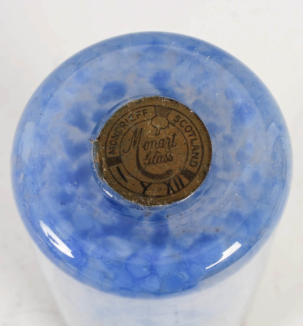 A rare Monart vase, shape L, mottled dark blue and light blue glass with gold coloured inclusions - Image 4 of 5