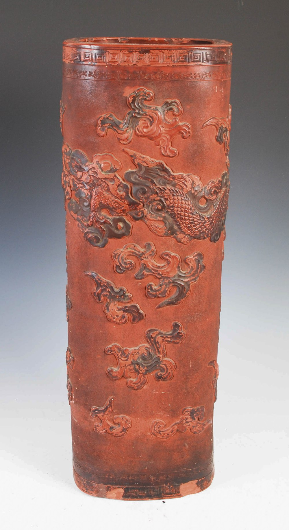 A Chinese terracotta stick stand, late 19th/ early 20th century, decorated in relief with dragon and - Image 2 of 7