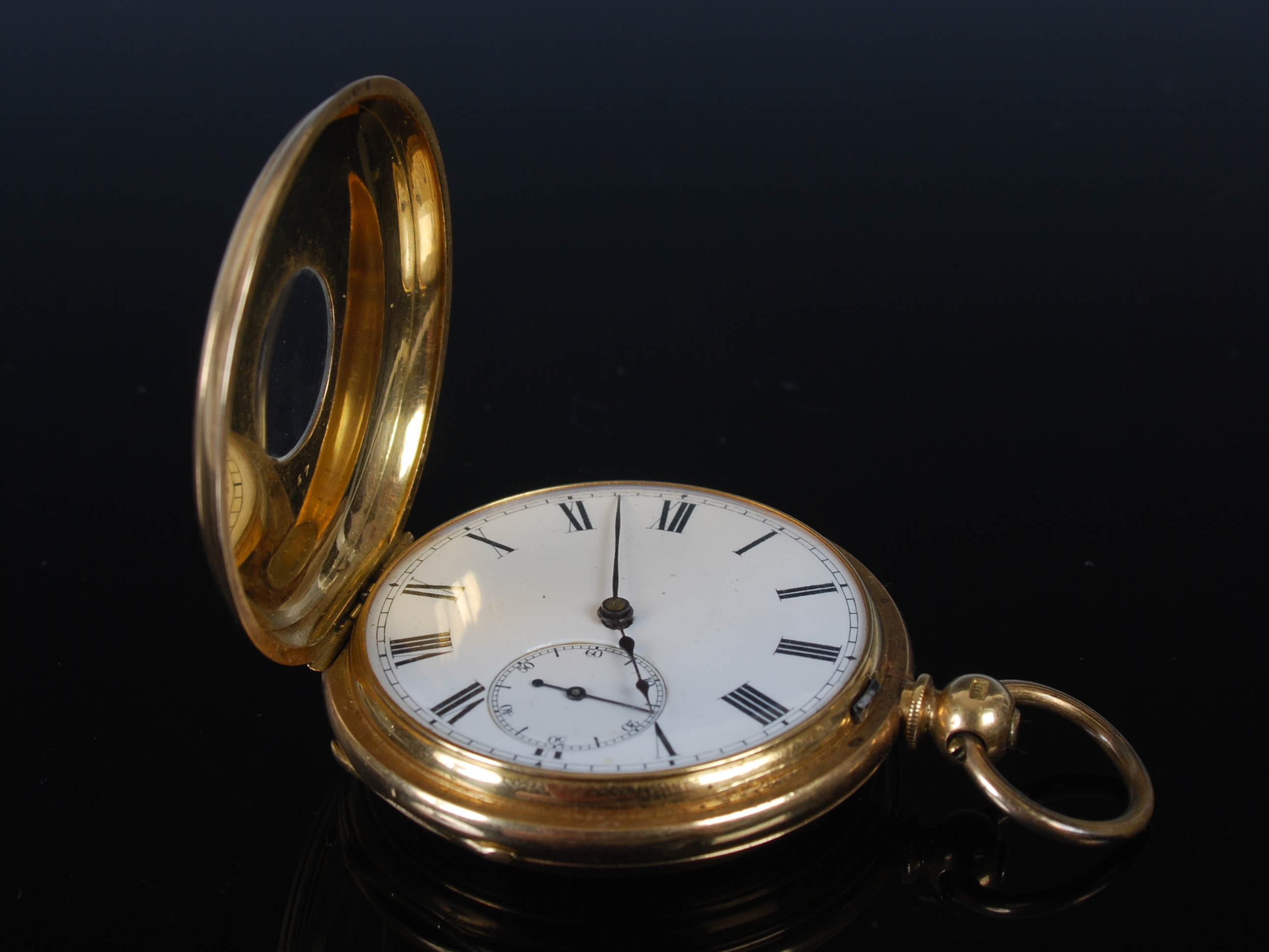 A yellow metal half hunter pocket watch, the outer cover with black enamel Roman numeral detail, the - Image 3 of 7