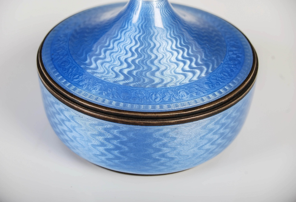 David Andersen, an early 20th century Norwegian silver gilt and blue guilloche enamel circular box - Image 4 of 7