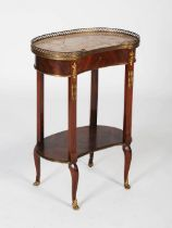 A late 19th century French Transitional style rosewood and gilt metal mounted kidney-shaped