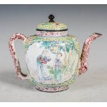 A Chinese Canton enamel yellow ground tea pot and cover, Qing Dynasty, decorated with shaped