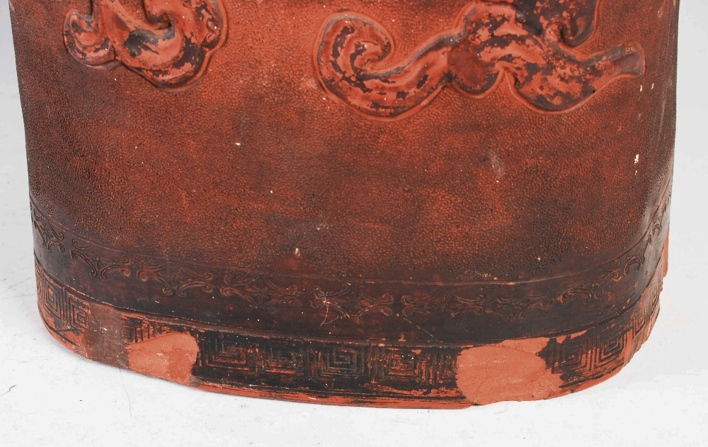 A Chinese terracotta stick stand, late 19th/ early 20th century, decorated in relief with dragon and - Image 4 of 7