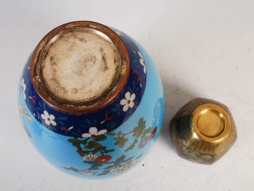 Two Japanese cloisonne jars and covers, Meiji Period, comprising a blue ground jar and two covers - Image 4 of 4