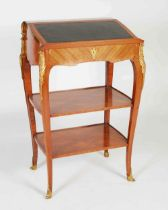 A kingwood and gilt metal mounted lectern in the Rococo style, the hinged rectangular top with green