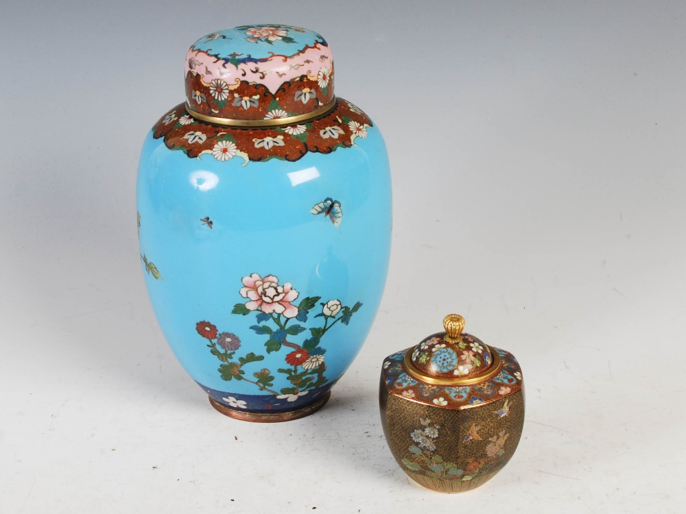 Two Japanese cloisonne jars and covers, Meiji Period, comprising a blue ground jar and two covers - Image 2 of 4