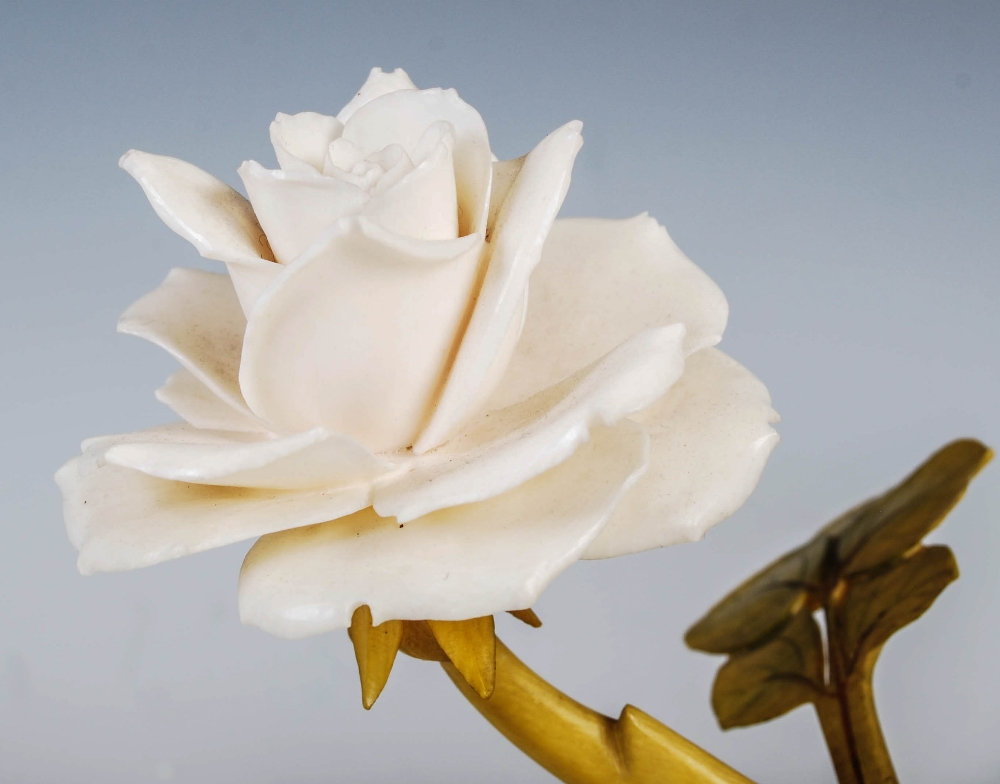 A Chinese ivory and stained ivory rose branch, late 19th/ early 20th century, naturalistic carving - Image 2 of 4