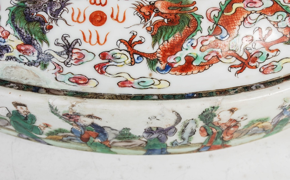 A Chinese porcelain famille rose covered warming tureen, Qing Dynasty, the oval shaped base - Image 7 of 7