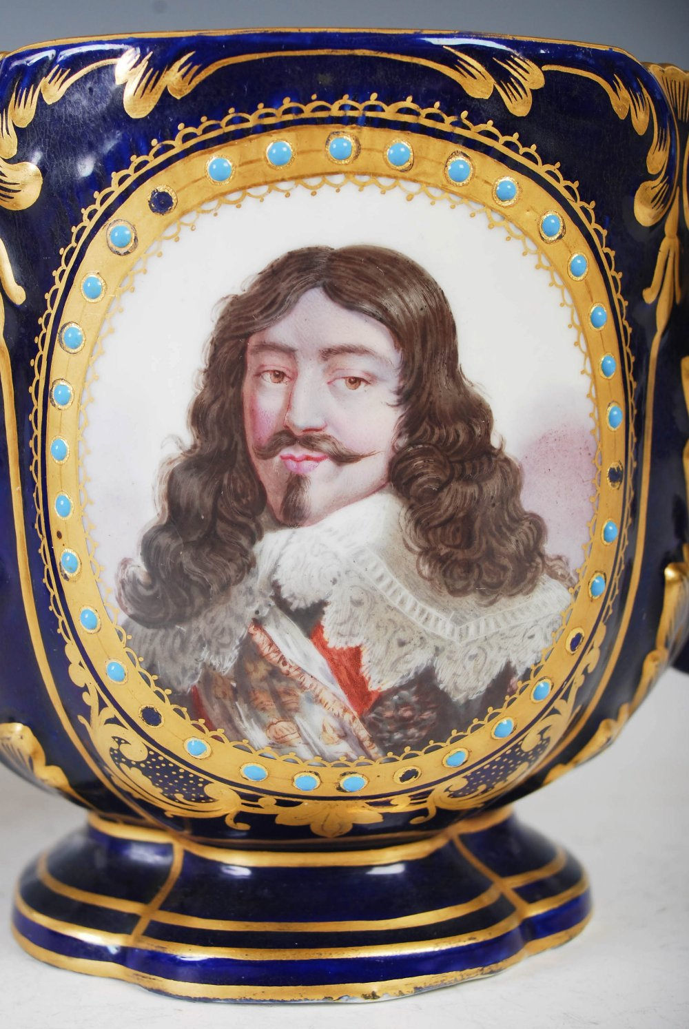 A pair of Sevres porcelain blue ground twin handled jardinieres, decorated with male and female - Image 6 of 7
