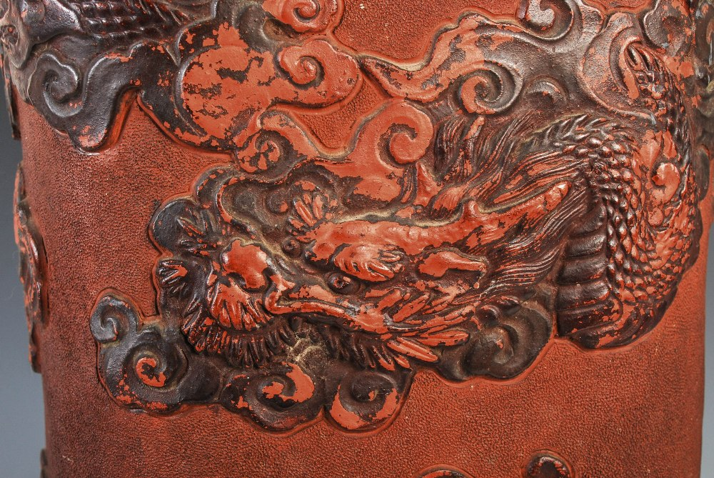 A Chinese terracotta stick stand, late 19th/ early 20th century, decorated in relief with dragon and - Image 5 of 7