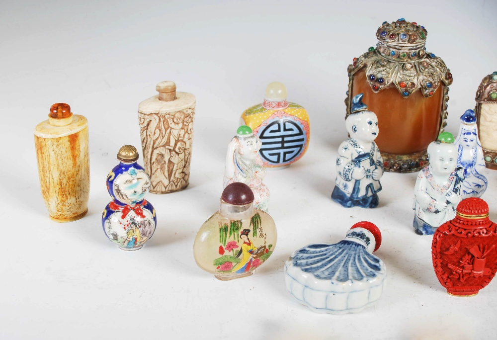 A collection of thirty four assorted Chinese snuff bottles, various mediums, decoration and sizes ( - Image 2 of 4