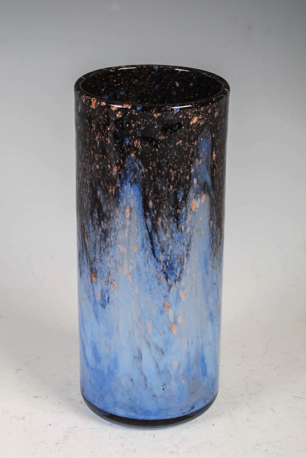 A rare Monart vase, shape L, mottled dark blue and light blue glass with gold coloured inclusions