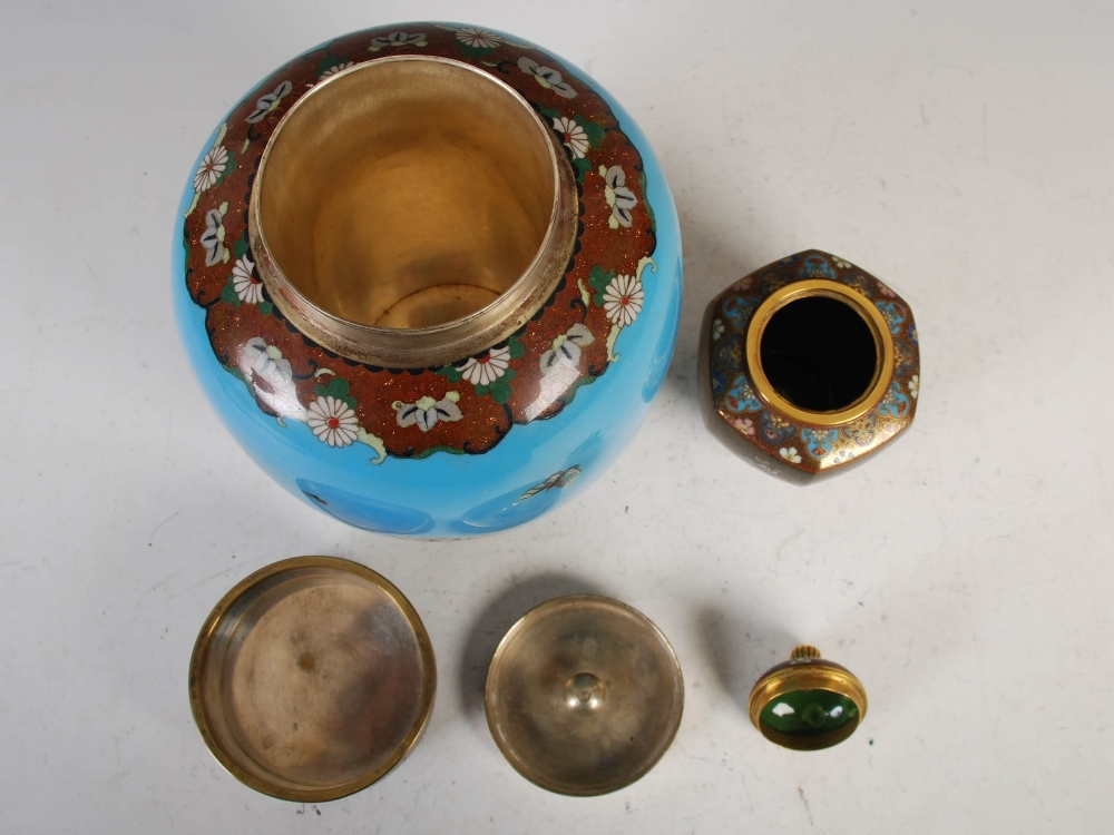 Two Japanese cloisonne jars and covers, Meiji Period, comprising a blue ground jar and two covers - Image 3 of 4