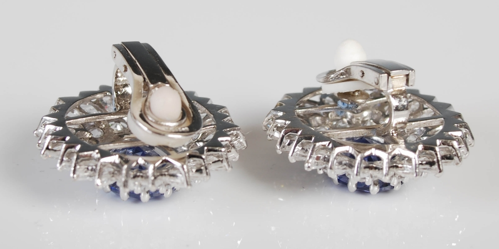 A pair of white metal synthetic sapphire and yttrium aluminium garnet cluster clip earrings, 20th - Image 4 of 7