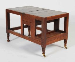 A 19th century mahogany metamorphic library step, of rectangular form opening to a set of four steps