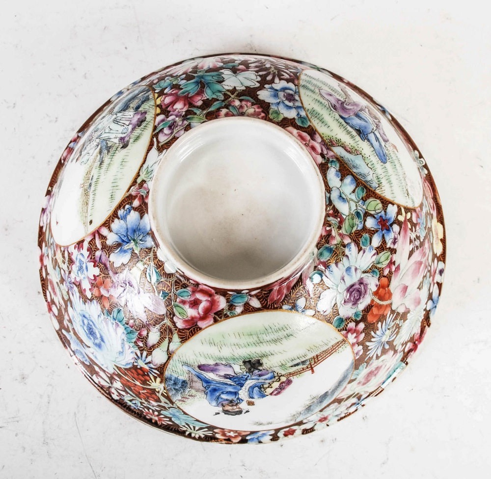 A Chinese porcelain famille rose millefleurs footed bowl, Qing Dynasty, decorated with three - Image 4 of 4