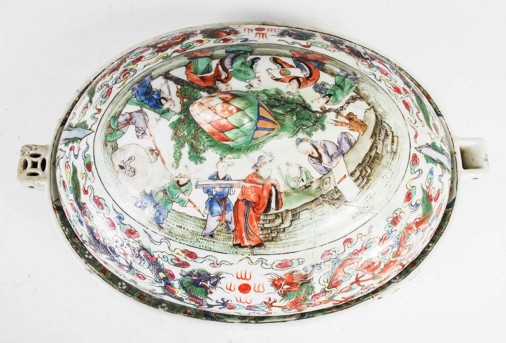 A Chinese porcelain famille rose covered warming tureen, Qing Dynasty, the oval shaped base - Image 3 of 7