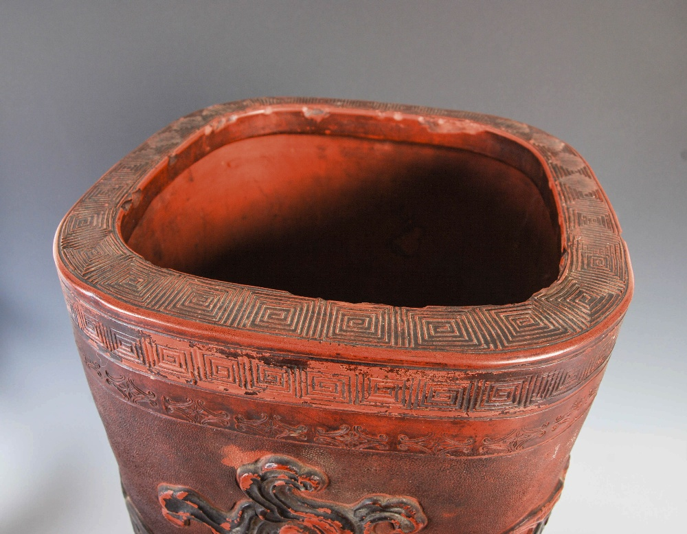 A Chinese terracotta stick stand, late 19th/ early 20th century, decorated in relief with dragon and - Image 3 of 7