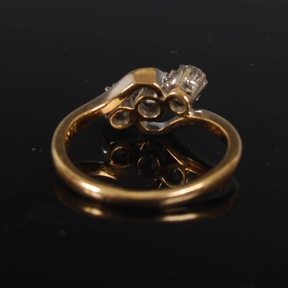 A yellow and white metal three stone diamond ring, mid 20th century, set with a single round - Image 6 of 6