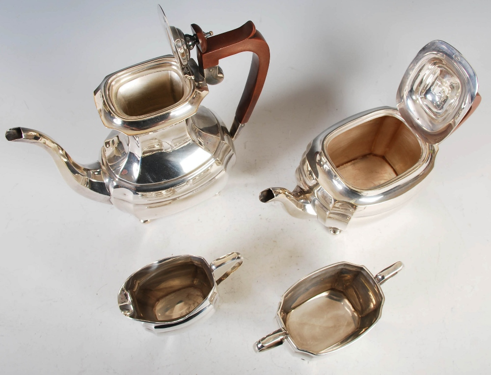 A mid 20th century silver four piece tea and coffee service, Sheffield, 1972, makers mark R&B, - Image 3 of 9