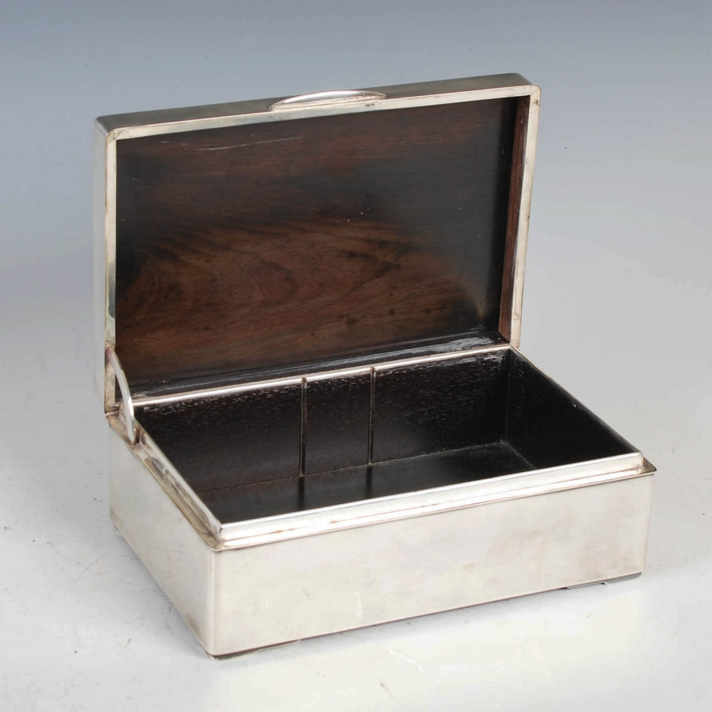 A Japanese silver rectangular shaped box, late 19th/ early 20th century, the hinged cover with - Image 4 of 7