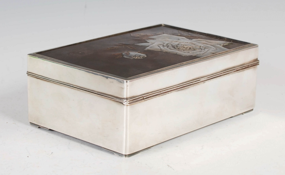 A Japanese silver rectangular shaped box, late 19th/ early 20th century, the hinged cover with - Image 2 of 7