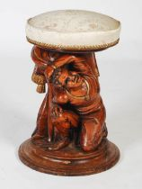 A late 19th century Continental carved wood and parcel gilt stool, the foliate upholstered revolving