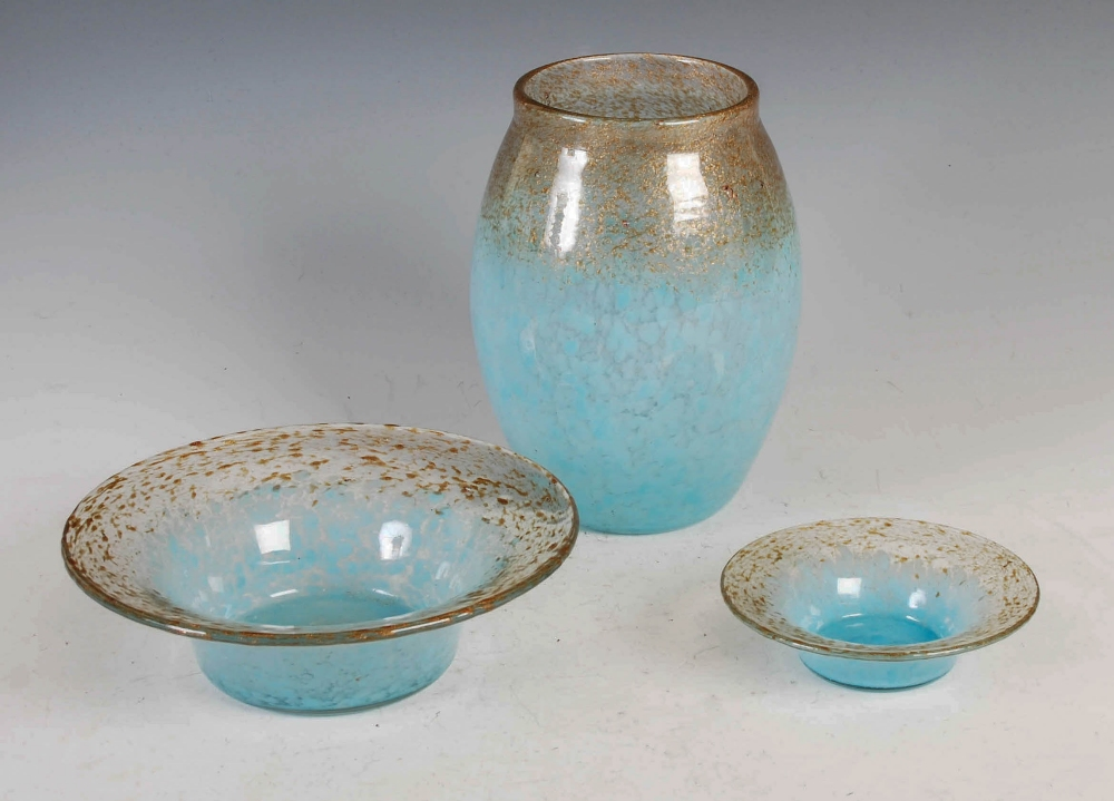 A group of three Monart Royal Wedding Gift coloured wares, comprising; a vase, shape MF, bearing