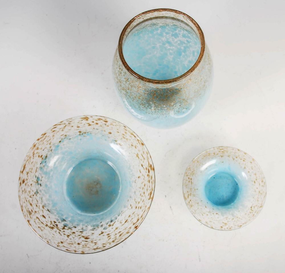 A group of three Monart Royal Wedding Gift coloured wares, comprising; a vase, shape MF, bearing - Image 3 of 7