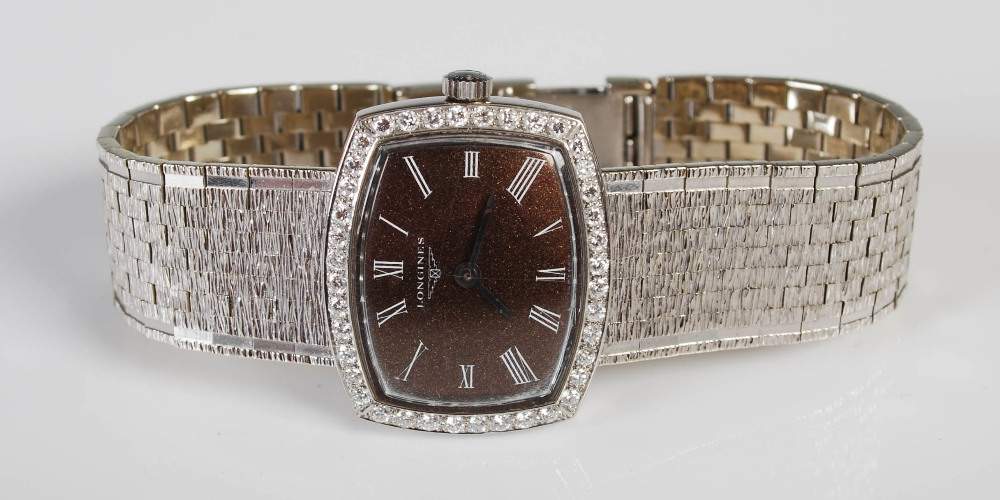 An 18ct gold and diamond set Longines ladies wristwatch, import hallmarks for London, 1968, B&Co., - Image 6 of 8