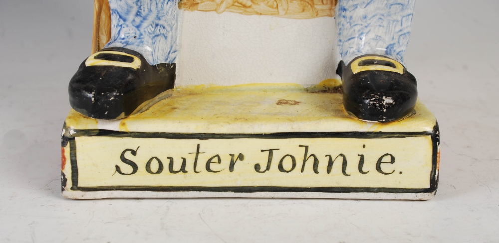 An oversized 19th century Scottish Pearlware pottery figure of Souter Johnie, 34cm high. - Image 5 of 5