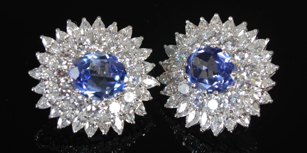 A pair of white metal synthetic sapphire and yttrium aluminium garnet cluster clip earrings, 20th - Image 7 of 7