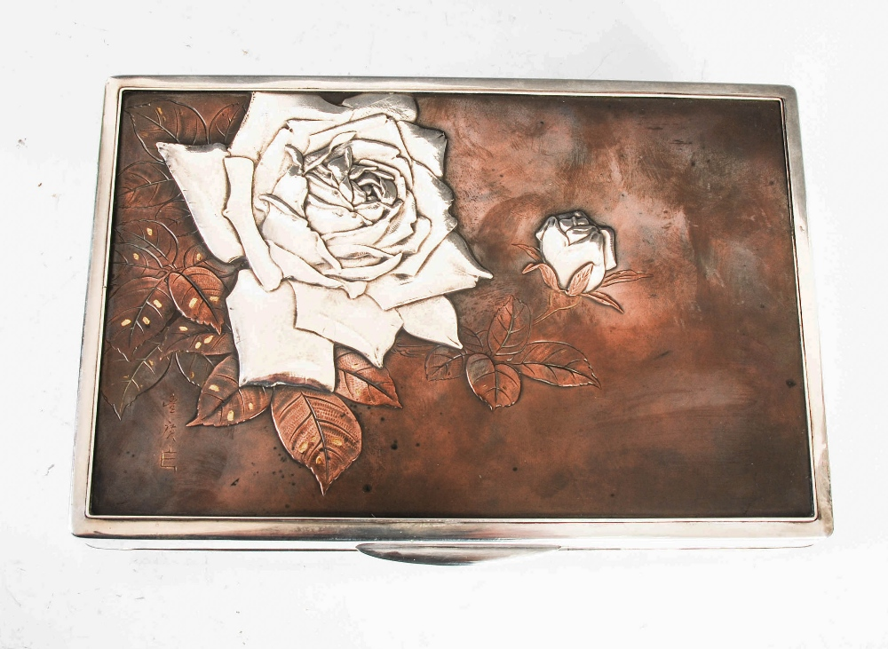 A Japanese silver rectangular shaped box, late 19th/ early 20th century, the hinged cover with - Image 3 of 7