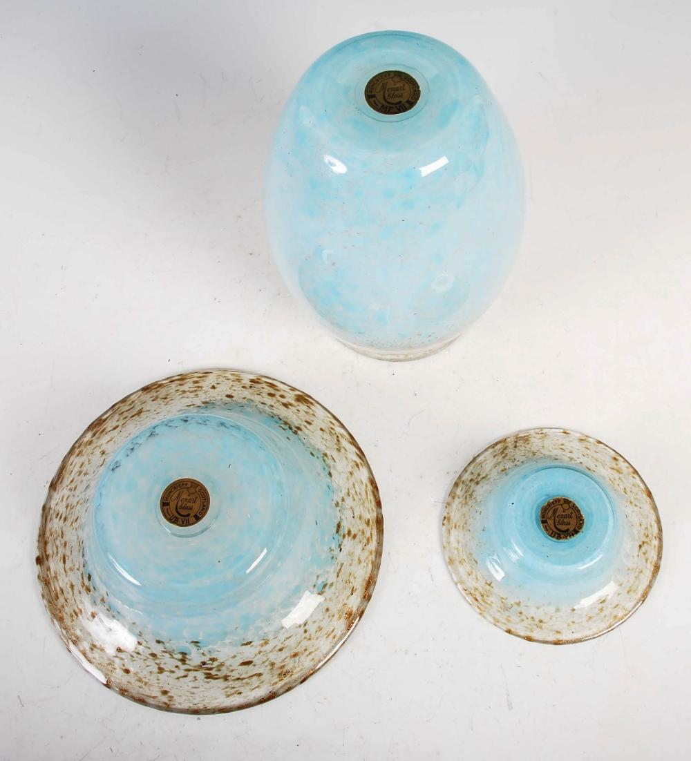 A group of three Monart Royal Wedding Gift coloured wares, comprising; a vase, shape MF, bearing - Image 4 of 7