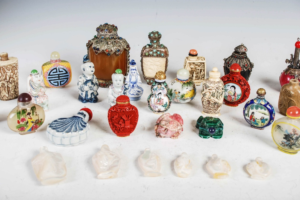 A collection of thirty four assorted Chinese snuff bottles, various mediums, decoration and sizes ( - Image 3 of 4