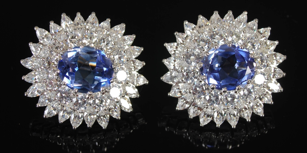A pair of white metal synthetic sapphire and yttrium aluminium garnet cluster clip earrings, 20th - Image 5 of 7