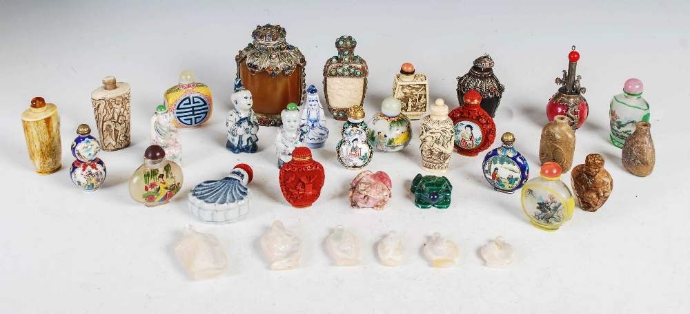 A collection of thirty four assorted Chinese snuff bottles, various mediums, decoration and sizes (