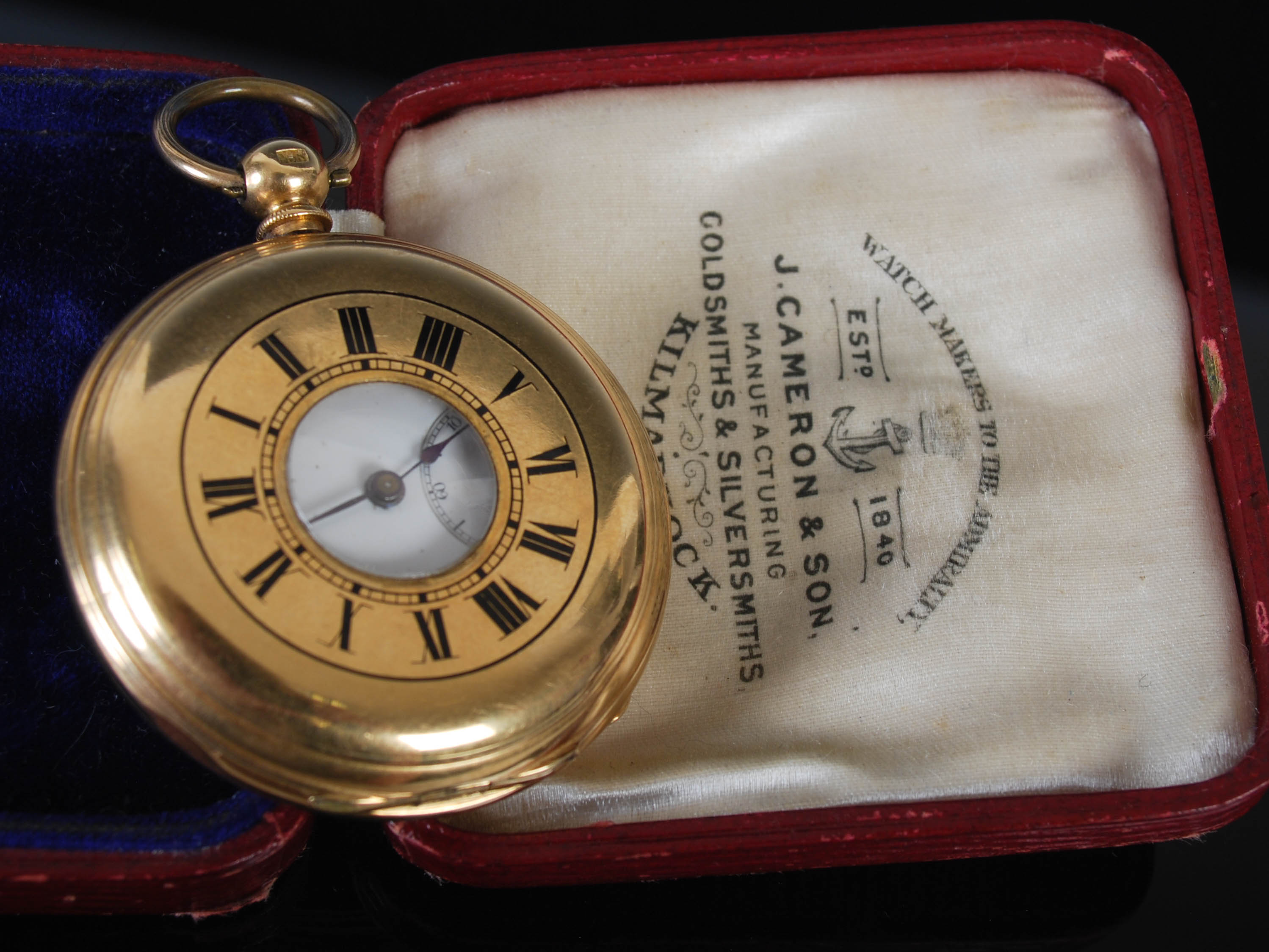 A yellow metal half hunter pocket watch, the outer cover with black enamel Roman numeral detail, the - Image 7 of 7