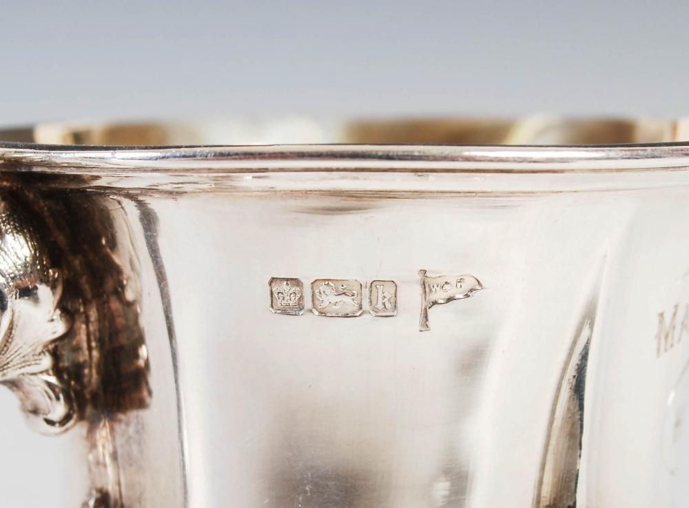 An Edwardian silver gilt Christening mug, Sheffield, 1902, makers mark of Walker & Hall, embossed - Image 3 of 7